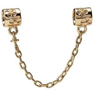 Pandora 14k gold floral safety chain